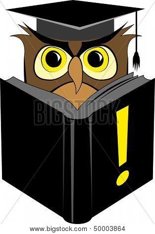 Illustration of wise owl in square graduation cap reading black book