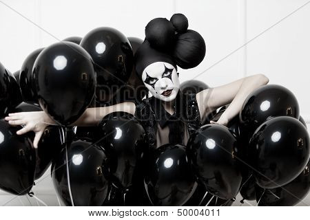 Mime stylized fashion close-up partrait