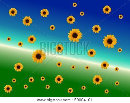 Fractal Background With Sunflowers