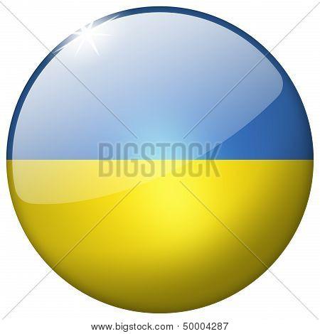 Ukraine Round Glass Button