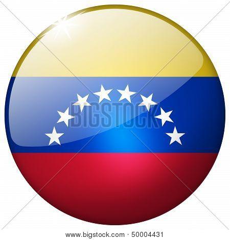 Venezuela Round Glass Button