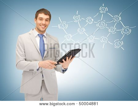 business, technology, internet and networking concept - businessman networking with tablet pc and virtual screen