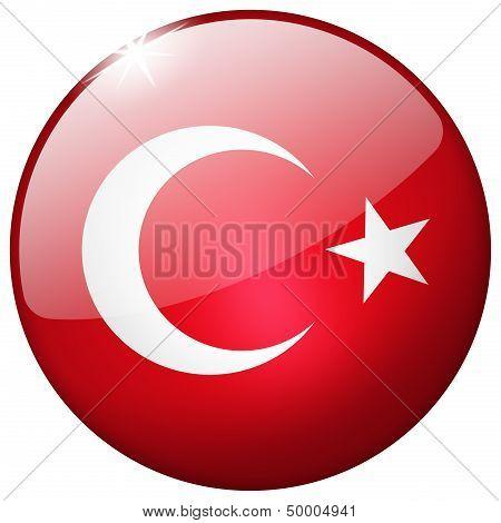Turkey Round Glass Button