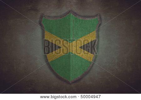 Shield With Jamaica Flag.