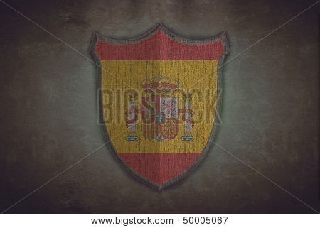 Shield With Spain Flag.