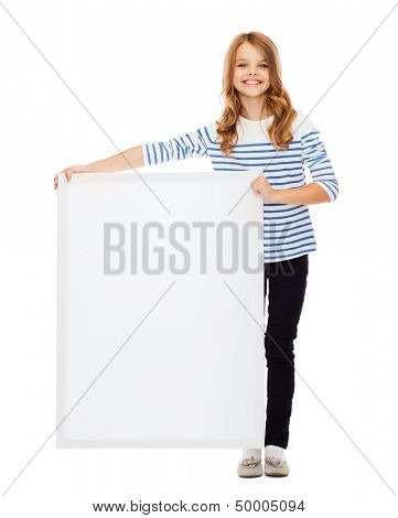education and blank board concept - little girl with blank white board