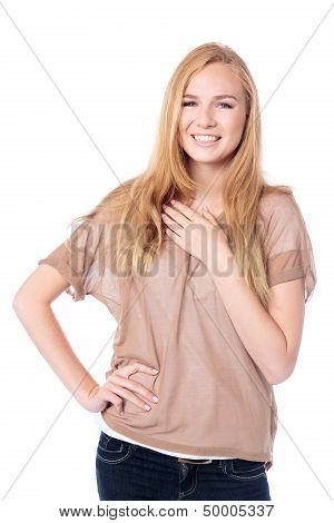 Friendly Relaxed Young Woman