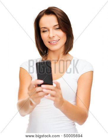 education, technology and internet - young woman browsing in smartphone