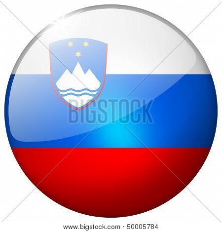Slovenia Round Glass Button