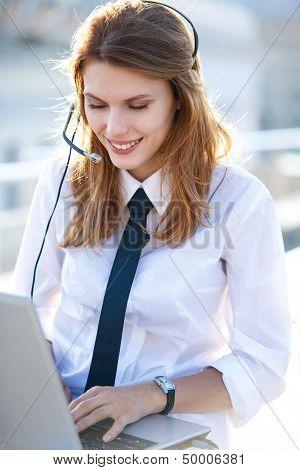 Active Call Center Operator Girl