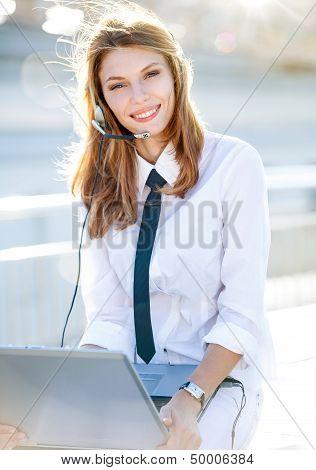 Lively Call Center Operator Girl