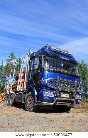 Sisu Polar Logging Truck And Blue Sky