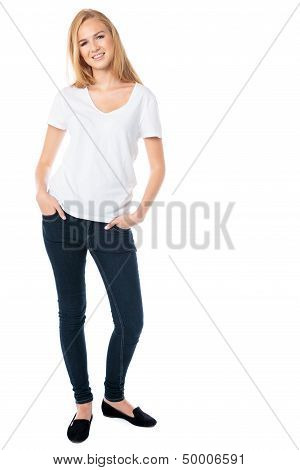 Attractive Smiling Woman In Jeans