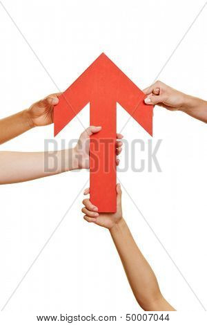 Many hands holding a red arrow pointing up