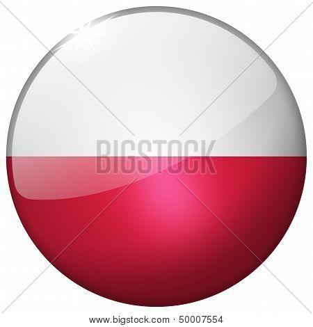 Poland Round Glass Button