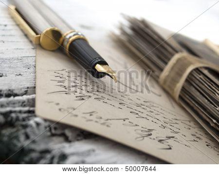 pen with old letter, vintage memories