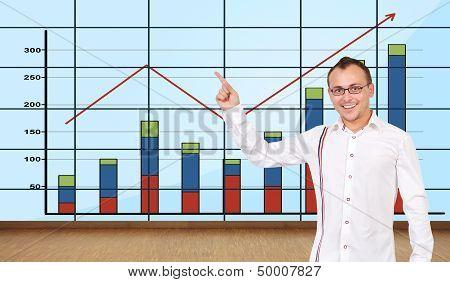 Man Pointing At Graph