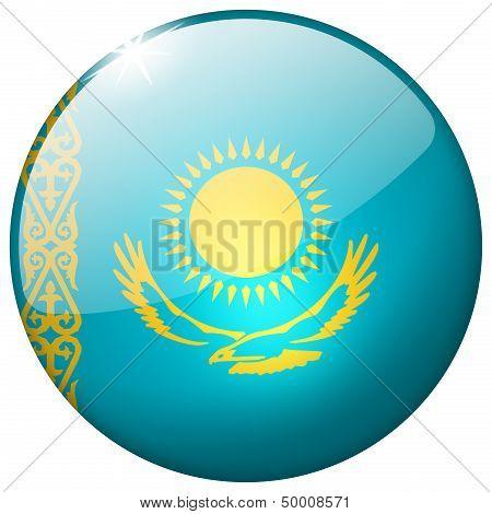 Kazakhstan Round Glass Button
