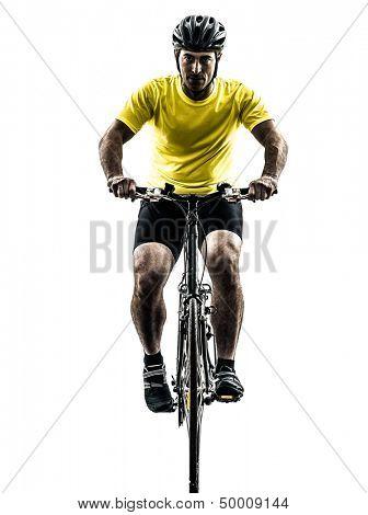 one caucasian man exercising bicycle mountain bike   on white background