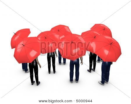 Crowd With Umbrella