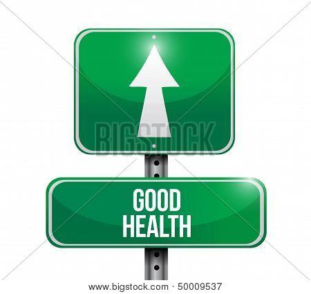 Good Health Road Sign Illustration Design