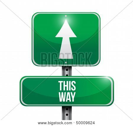 This Way Road Sign Illustration Design