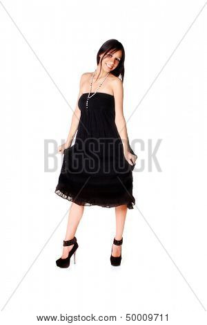Native American Woman in black dress, isolated on white