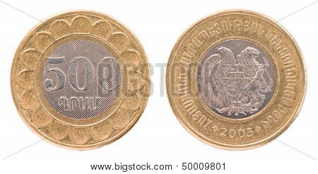 500 Armenian Dollars Coin Isolated On White Background