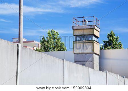 Berlin Wall Memorial, a watchtower in the inner area. The Gedenkstatte Berliner Mauer