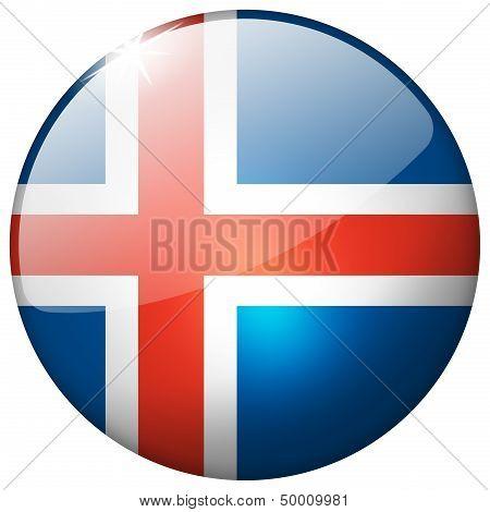 Iceland Round Glass Button