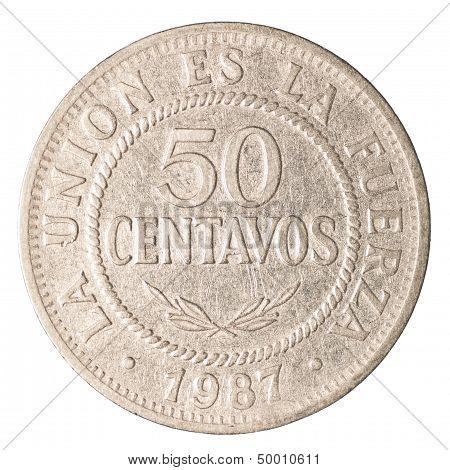 50 bolivian boliviano centavos coin