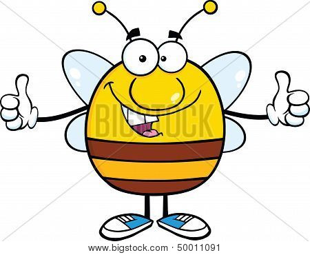Happy Pudgy Bee Cartoon Character Giving A Double Thumbs Up