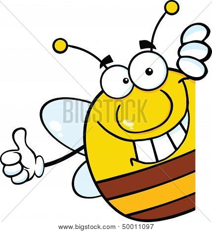 Pudgy Bee Cartoon Character Giving A Thumb Up Behind A Sign