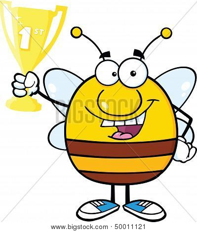 Pudgy Bee Character Holding First Prize Trophy Cup