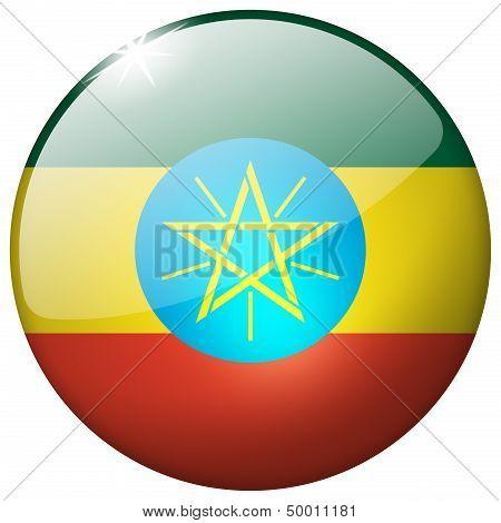 Ethiopia Round Glass Button