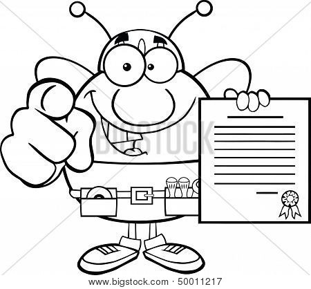 Black And White Pudgy Bee Worker Pointing With Finger And Holding A Contract