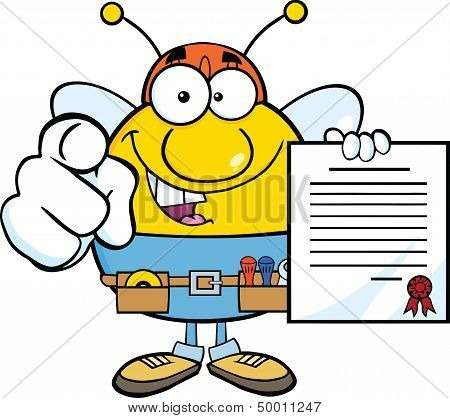 Pudgy Bee Worker Pointing With Finger And Holding A Contract