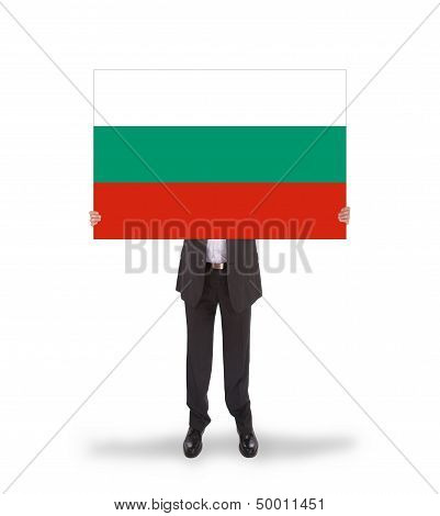Smiling Businessman Holding A Big Card, Flag Of Bulgaria