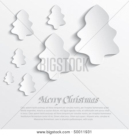 vector christmas tree white paper 3D