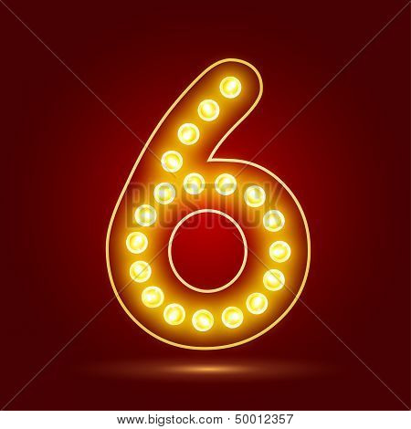 Number set with realistic lamp