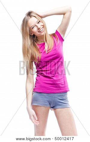 Young beautiful woman wearing pink t-shirt