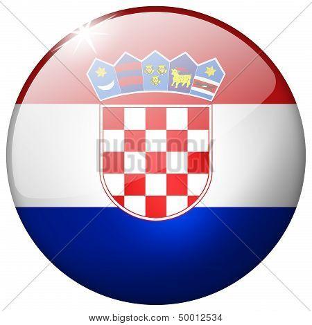 Croatia Round Glass Button