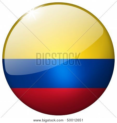 Colombia Round Glass Button