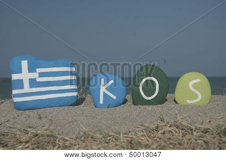 Souvenir of the greek isle Kos on colourful stones