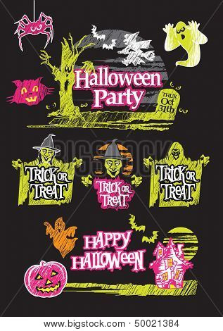 Halloween hand drawn design set on a black background