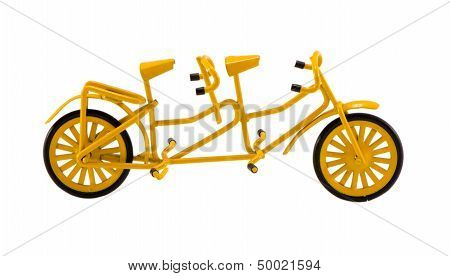 Double Bicicle Model Toy Decor Isolated On White