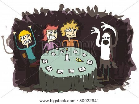 Ghost Funny Cartoon With Teenagers Communicating To Other World