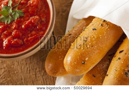 Homemade Bread Sticks With Marinera Sauce