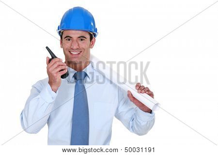 Architect with a walkie-talkie poster