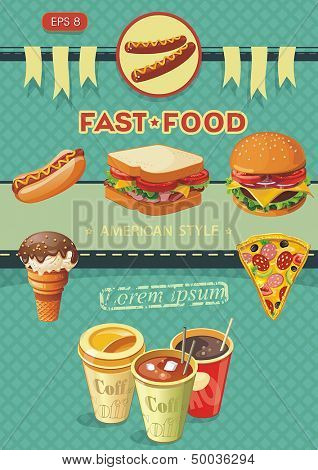 Creative Template with fast food concept. Vector illustration